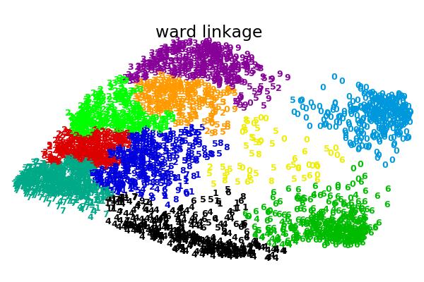 二维数字嵌入上的各种凝聚聚类